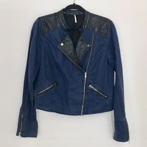 Free People Vegan Leather/Linen Moto Jacket Size 8